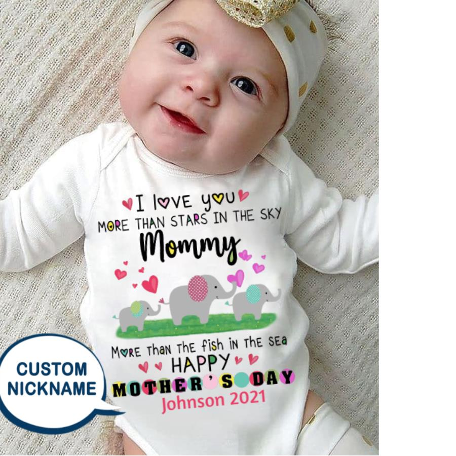 Elephant baby I love you more than stars in the sky mommy happy mother's day 2021 custom name shirt