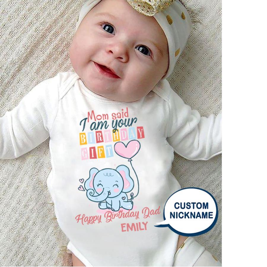 Elephant gift happy birthday dad custom name baby shirt