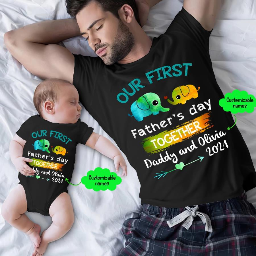 Elephant our first father's day together custom name family shirt