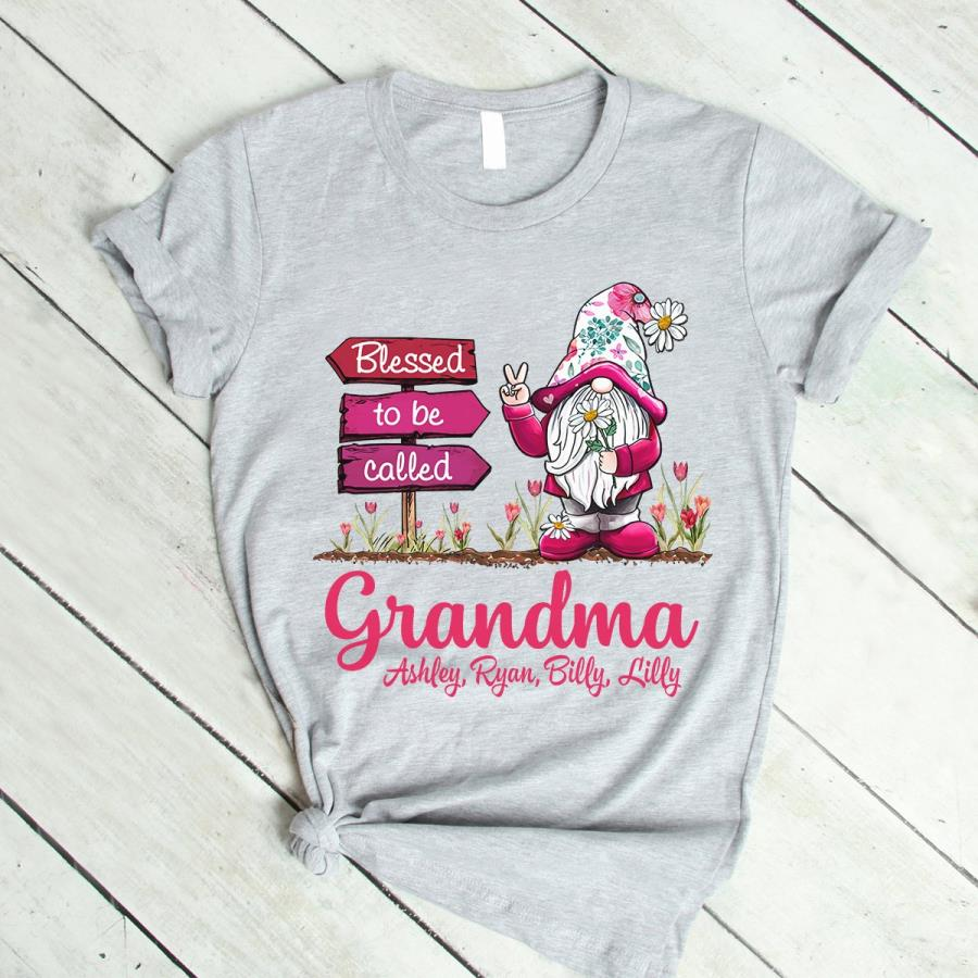 Gnome blessed to be called grandma custom name shirt