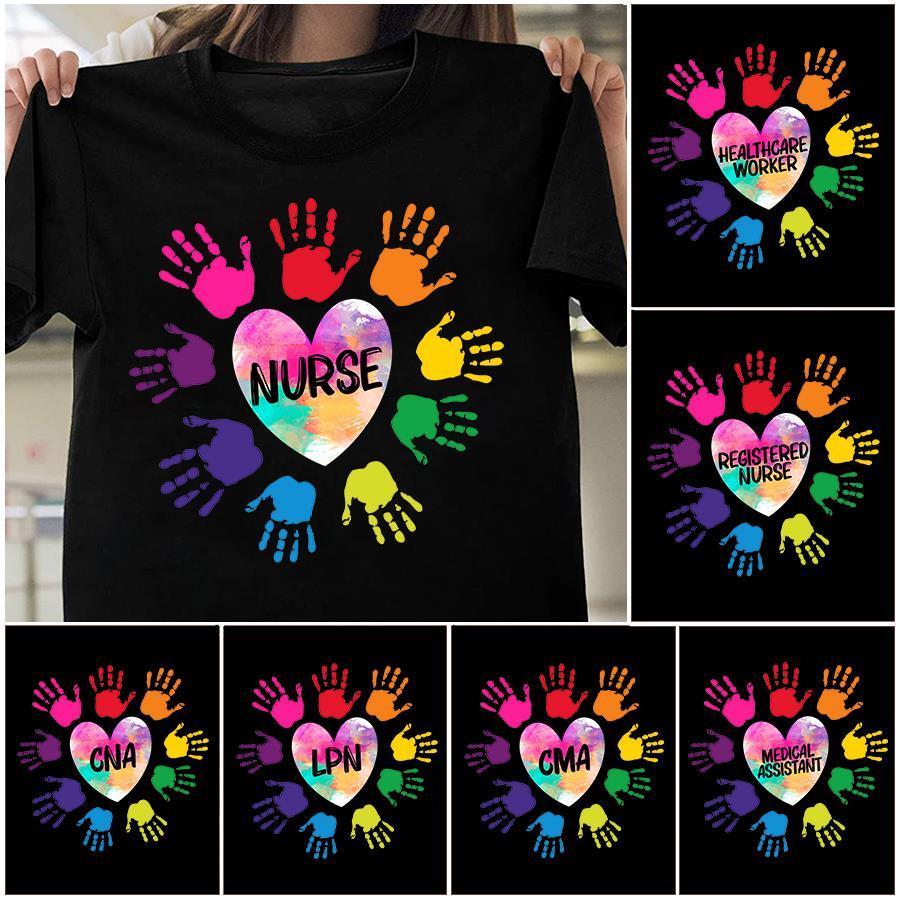 Nurse Heart Hands Colorful Shirt, Medical Assistant Heart Hands Colorful Shirt unisex, hoodie, sweatshirt