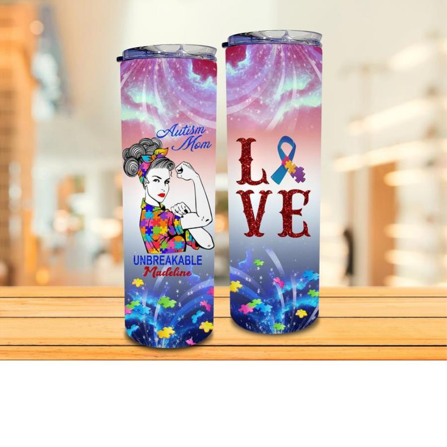 Personalized Autism Mom Love Tumbler, Girl Power Stainless Steel Tumbler unisex, hoodie, sweatshirt