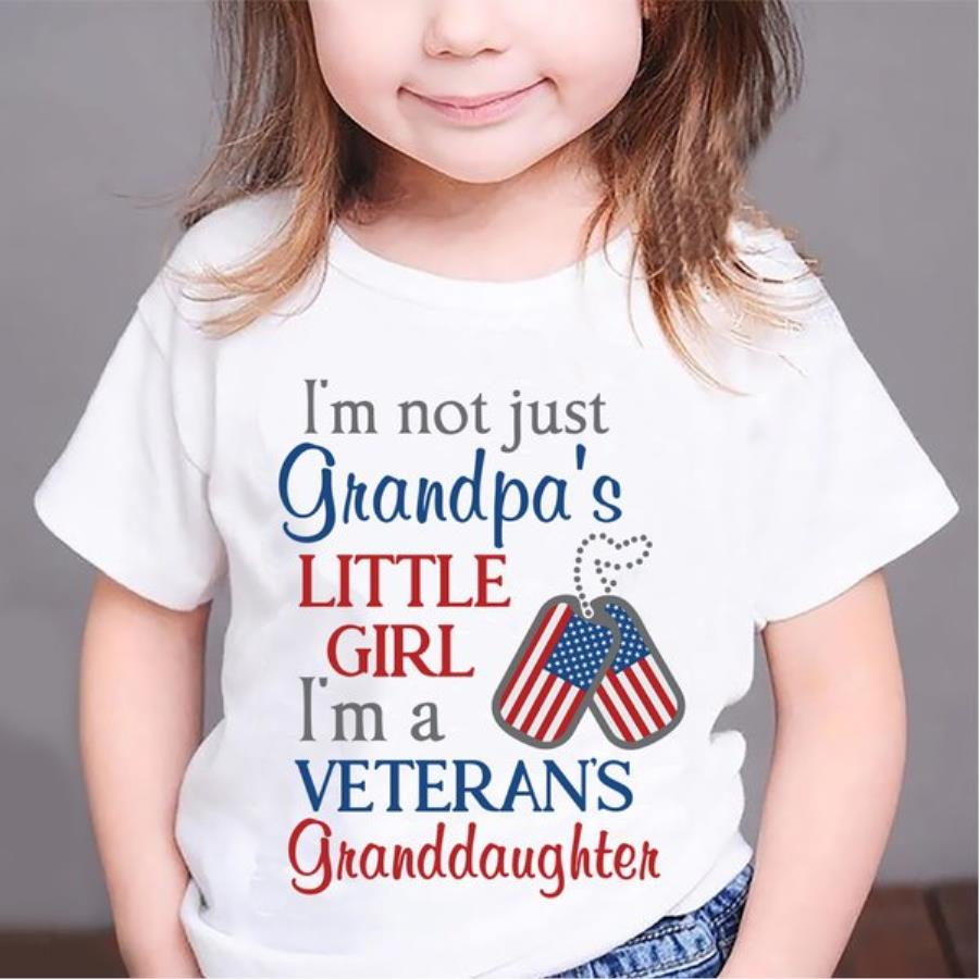 I'm not just grandpa's little girl I'm a veteran's granddaughter 4th of July shirt, independence day shirt, American flag s unisex, hoodie, sweatshirt