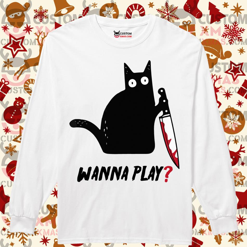 Black cat Jason Voorhees Knife wanna play Longsleeved