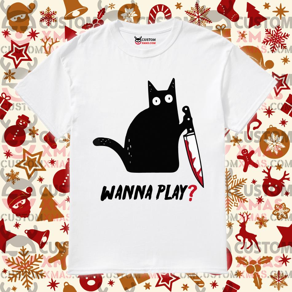 Black cat Jason Voorhees Knife wanna play shirt