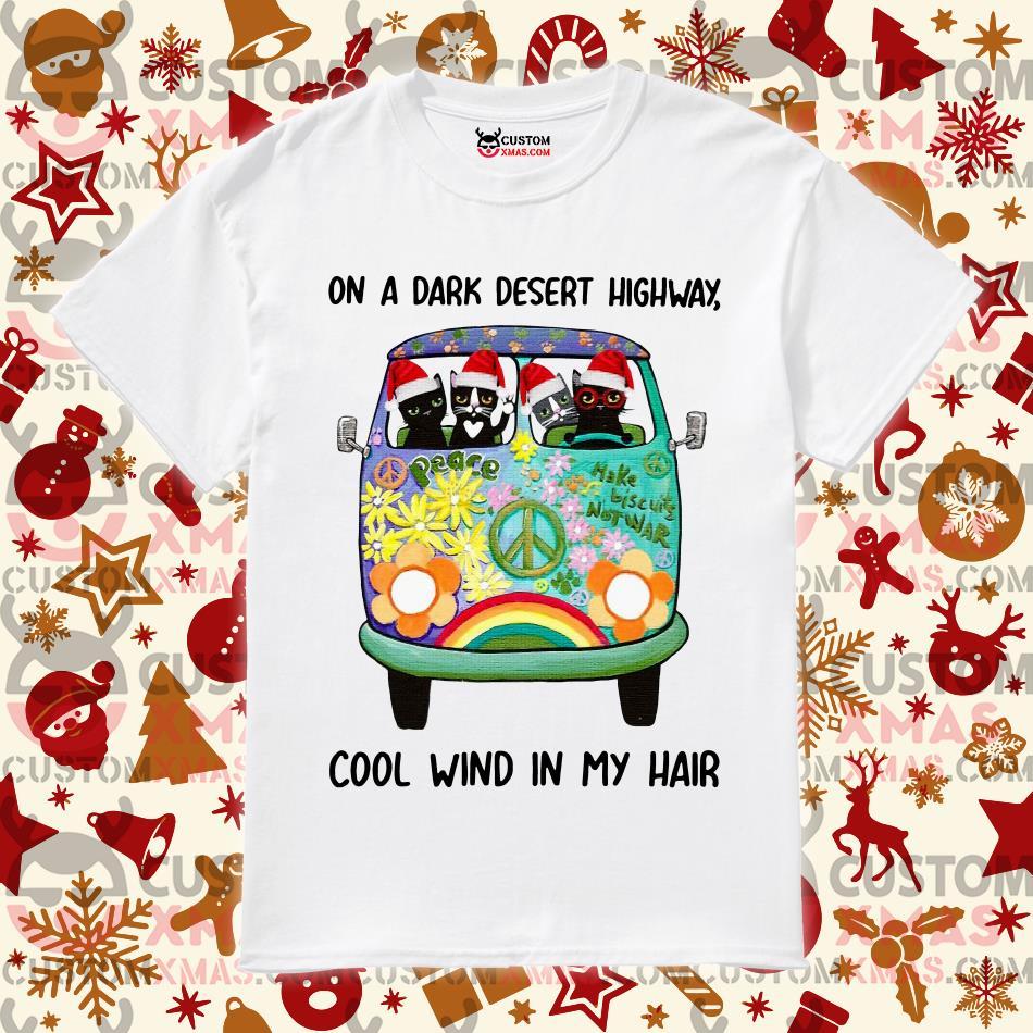 Cat Christmas On a dark desert highway cool wind in my hair shirt