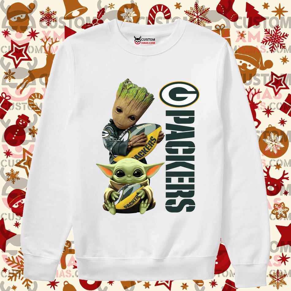 Baby Groot And Baby Yoda Hug Green Bay Packers Shirt Customxmas