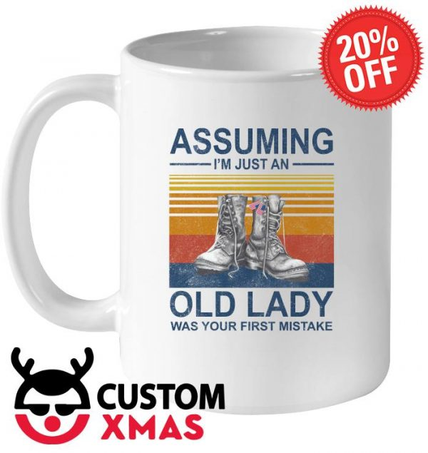 Assuming I'm just an old lady was your first mistake Veteran boot mug
