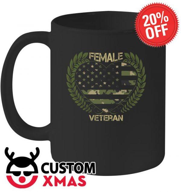 Female veteran heart flag mug