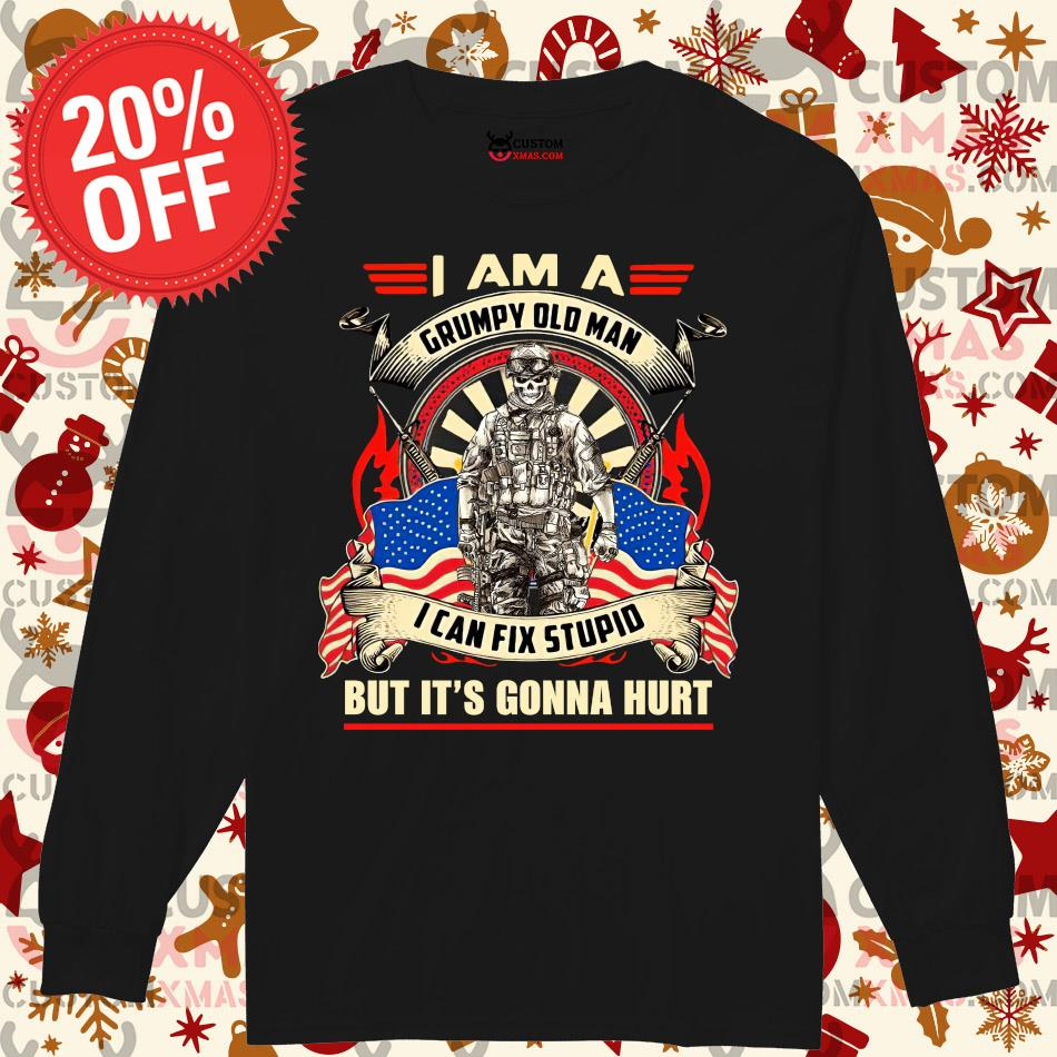 Skull I Am A Grumpy Old Man I Can Fix Stupid But It/'s Gonna Hurt Tshirt Men